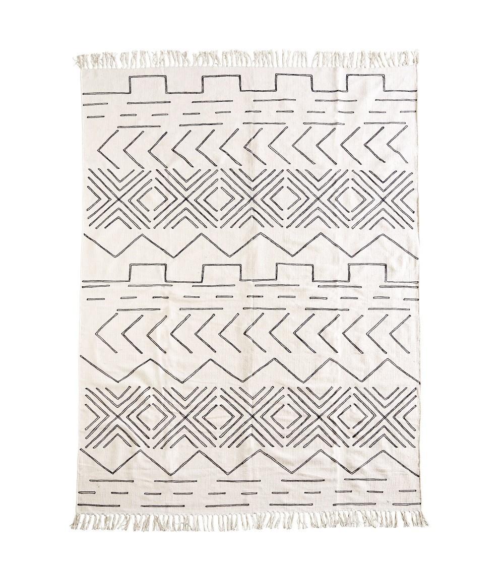 Tapis coton - Blanc cassé   noir (160x230) - MADAM STOLTZ - Perlin Paon Paon e86ef2d6b992