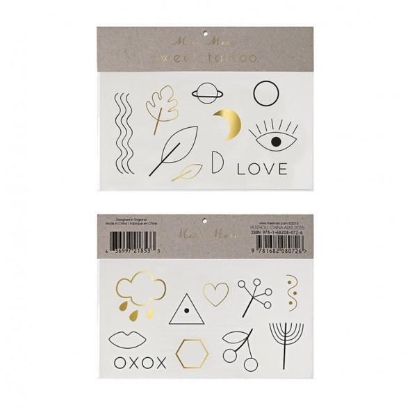2 planches de tatouages éphémères - Love xoxo