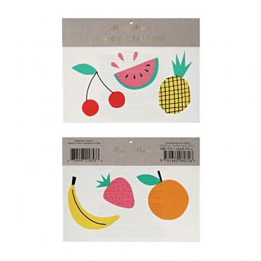 2 planches de tatouages éphémères - Fruits
