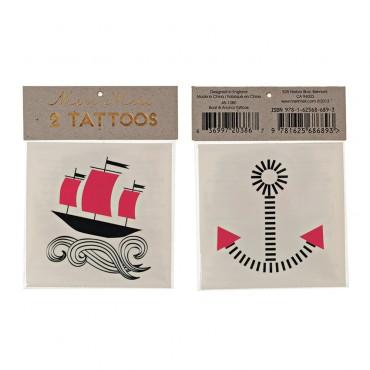 2 planches de tatouages éphémères - Bateau et ancre