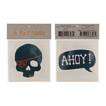 2 planches de tatouages éphémères - Crâne & Hanoy