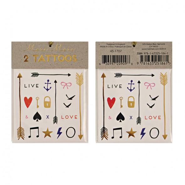 2 planches de tatouages éphémères - Mini fléchettes amour