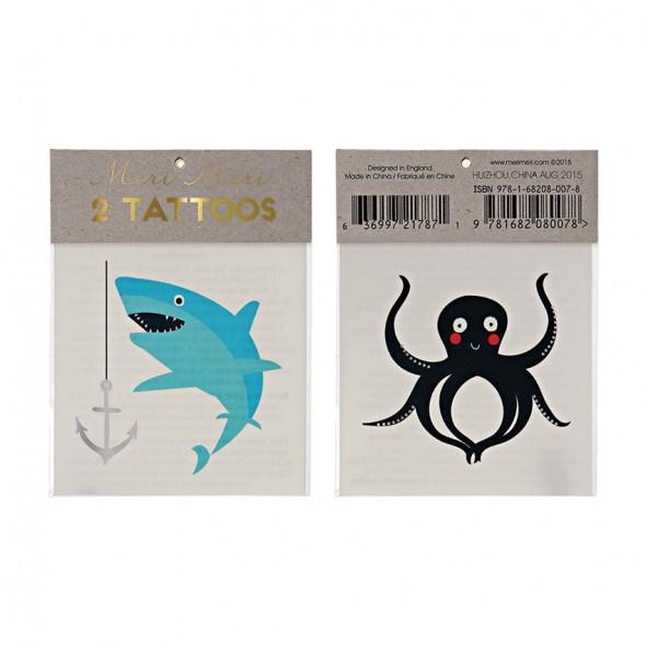 2 planches de tatouages éphémères - Mer