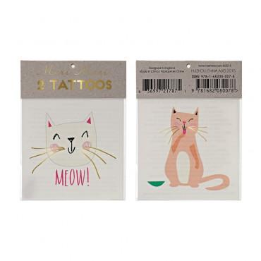 2 planches de tatouages éphémères - Chat