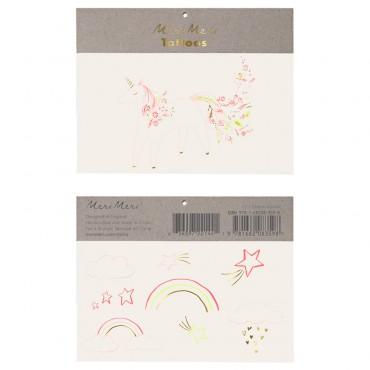 2 planches de tatouages éphémères - Licornes fleuries