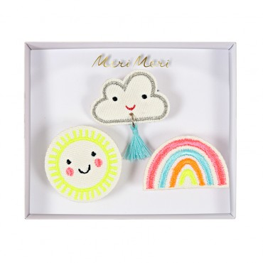 Set de 3 broches brodées - Weather faces