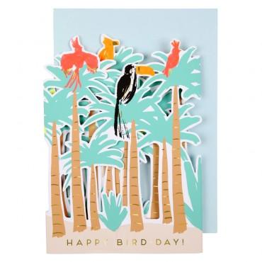 Carte anniversaire - Oiseau tropical