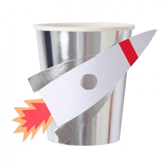8 gobelets en carton - Fusée