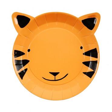 8 petites assiettes en carton -  Tigre