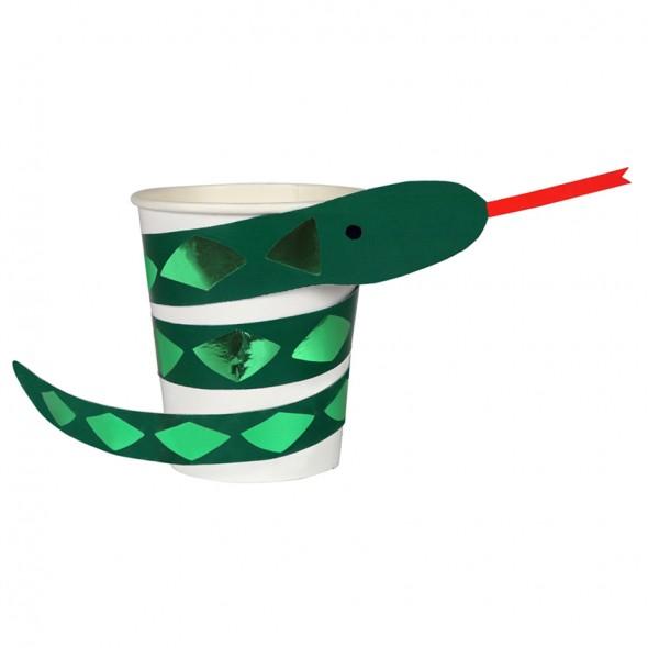 8 gobelets en carton - Serpent