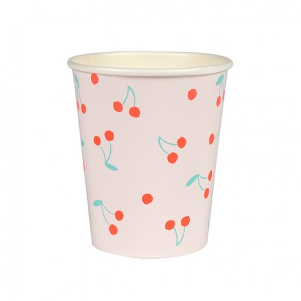 12 gobelets en carton - Cerises
