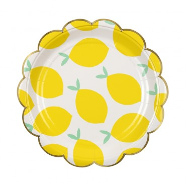 8 petites assiettes en carton -  Citrons