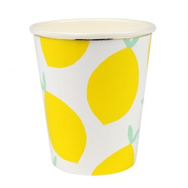 8 gobelets en carton - Citrons