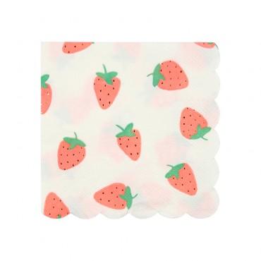 20 petites serviettes en papier - Fraises