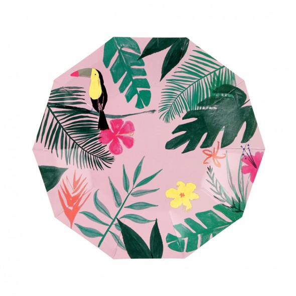 12 petites assiettes en carton -  Pink tropical