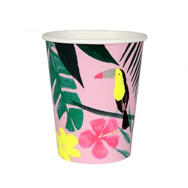 12 gobelets en carton - Pink tropical