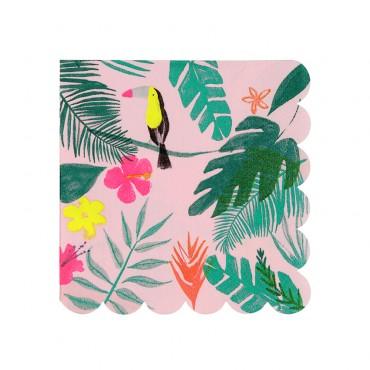 20 petites serviettes en papier - Pink tropical