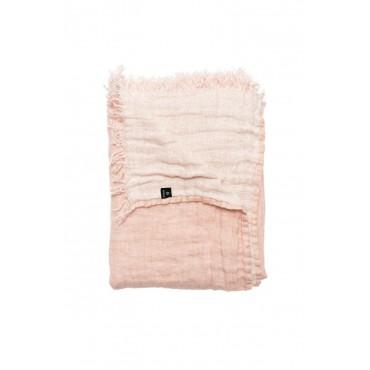 Jeté de lit en lin froissé - Rose blush / Blanc