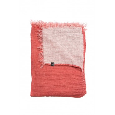 Jeté de lit en lin froissé - Rose corail  / Blanc