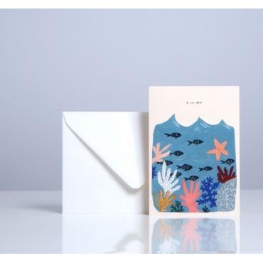 Carte double Corail - A la mer