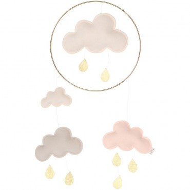 Mobile Nuage - Blanc / Rose