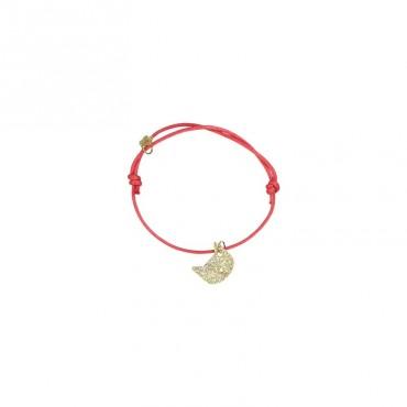 Bracelet Animal - Chat doré (rouge)
