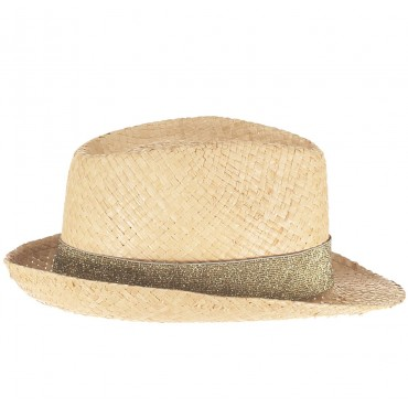 Chapeau en paille - Lurex Vert