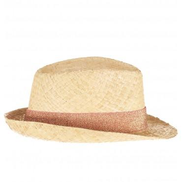 Chapeau en paille - Lurex Corail