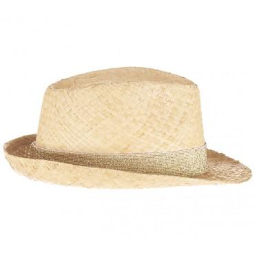 Chapeau en paille - Lurex Doré blanc