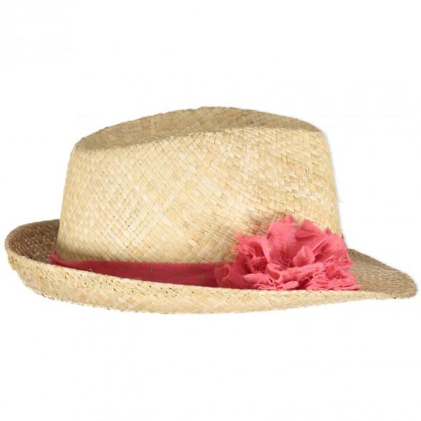 Chapeau en paille - Pompon Corail