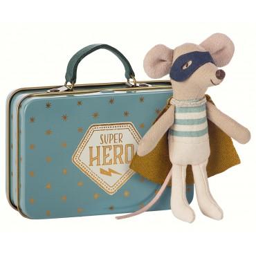Petite souris  Super Héros avec sa valise