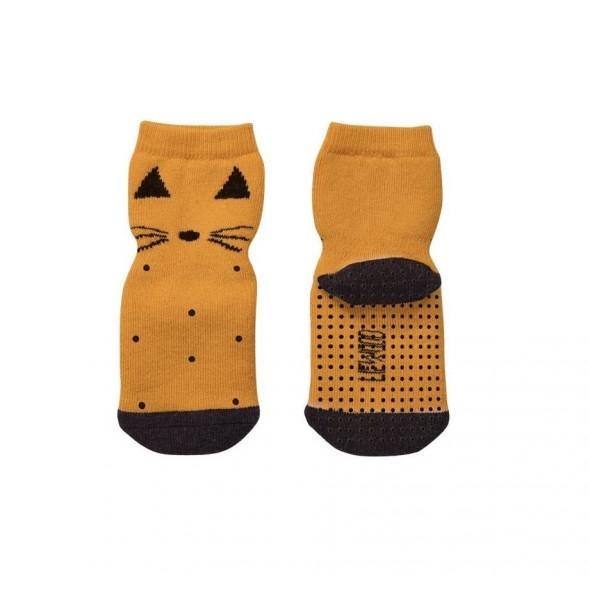 Chaussettes antidérapantes Nellie - Cat (moutarde)