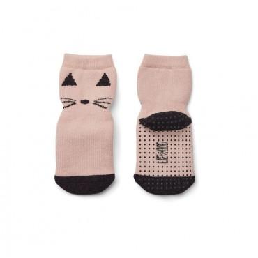 Chaussettes antidérapantes Nellie - Cat (rose)