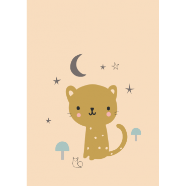 Carte postale - Léopard peach