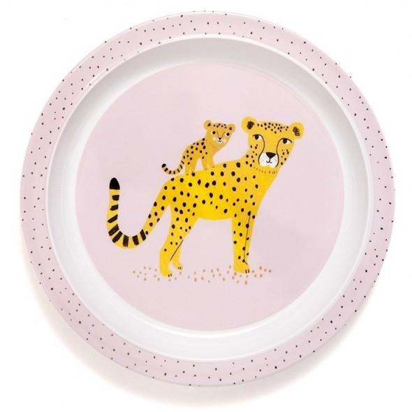 Assiette avec bord- Léopard rose