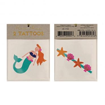 2 planches de tatouages éphémères - Sirène et coquillages
