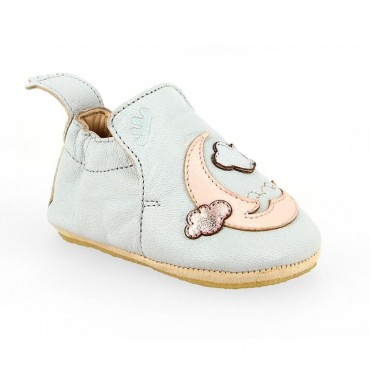 Chaussons Blublu Moon - Gris clair / rose