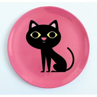 Assiette par Ingela P. Arrhenius - Chat rose