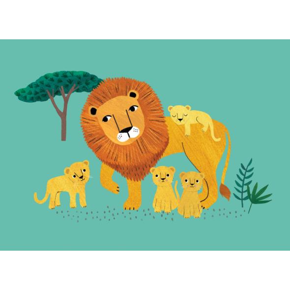 Carte postale - Lion et ses petits