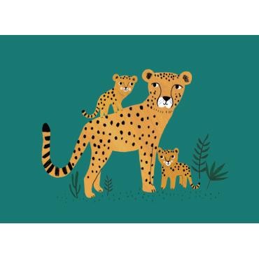 Carte postale - Guépard et ses petits