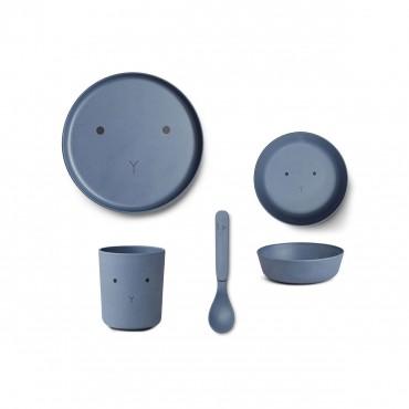 Set de vaisselle en bambou - Rabbit (blue wave)