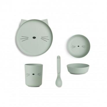 Set de vaisselle en bambou - Cat (dusty mint)