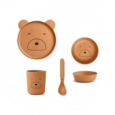 Set de vaisselle en bambou - Bear (moutarde)