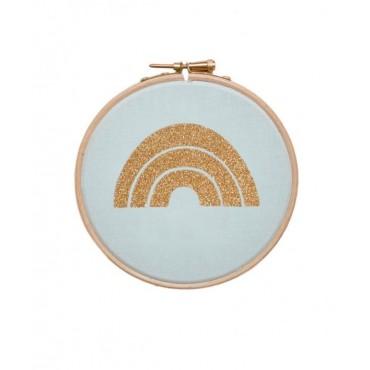 Petit cadre tambour Arc en ciel - Mint & doré
