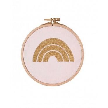 Petit cadre tambour Arc en ciel - Rose & doré