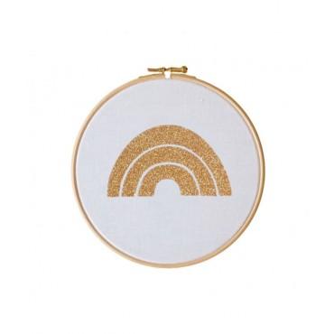 Petit cadre tambour Arc en ciel - Blanc & doré