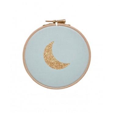 Petit cadre tambour Lune - Mint & doré