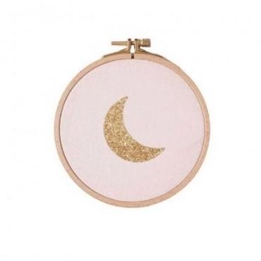 Petit cadre tambour Lune - Rose & doré