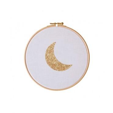 Petit cadre tambour Lune - Blanc & doré