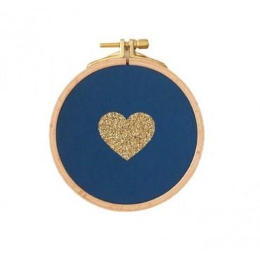 Petit cadre tambour Cœur - Bleu canard & doré